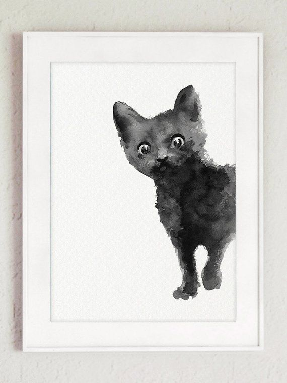Black Cat Poster Abstract Animal Minimalist Painting Kitten