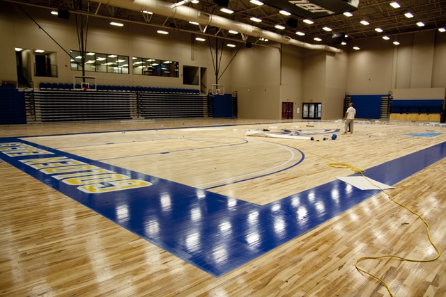 Nothing like a newly waxed basketball court. - Bill George Arena at John Brown University