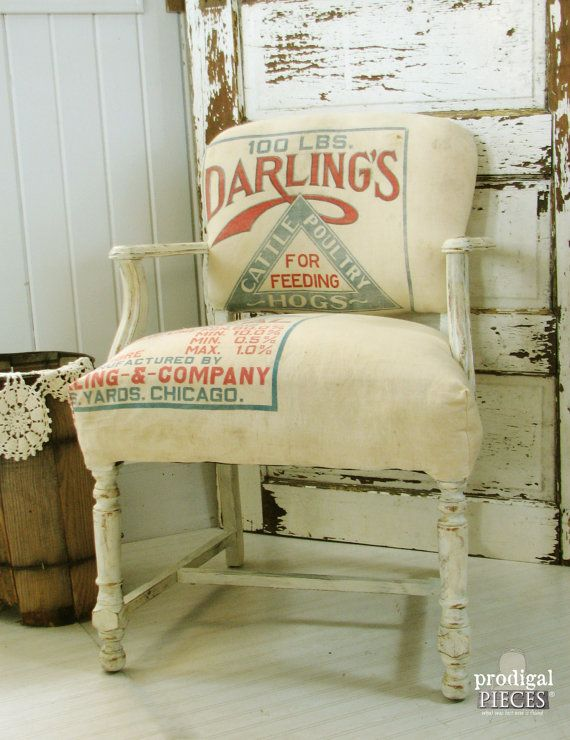 Farmhouse Style Feed Sack Accent Arm Chair ~ Vintage Cottage Chic Goodness #etsy #prodigalpieces