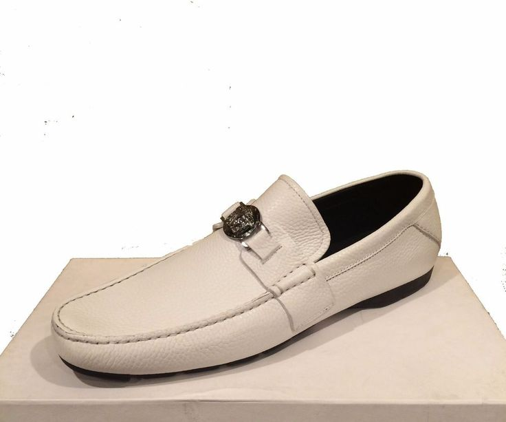Versace Men's White Loafer Leather Italy Car Shoes Sz 12 Driving Moccasins #Versace #LoafersSlipOns