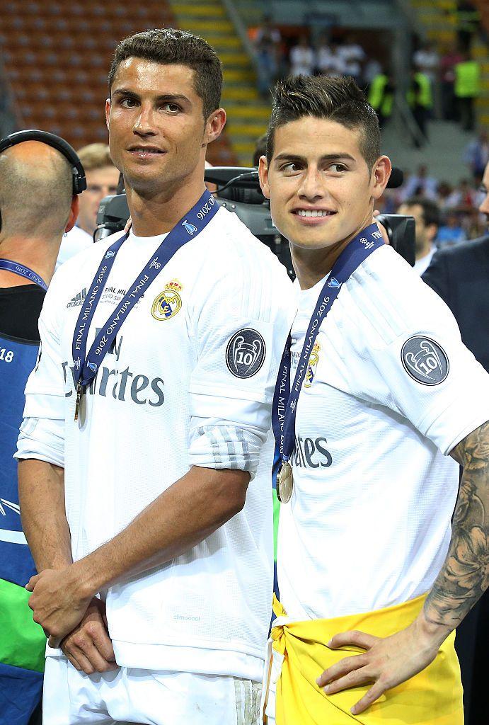 Cristiano Ronaldo And James Rodriguez Of Real Madrid Celebrates James Rodriguez Cristiano Ronaldo Ronaldo