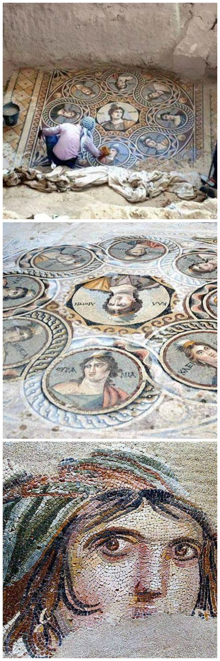 Beautiful uncovered Mosaic from Greece. Zeugma (Turquia) 2000 years old