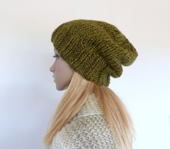 Green  Chunky Knit beanie Slouchy hat Green by SallyAnnaBoutique