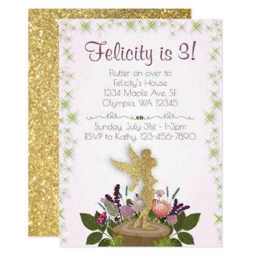 fairy birthday party fairy sparkly floral birthday party invitation