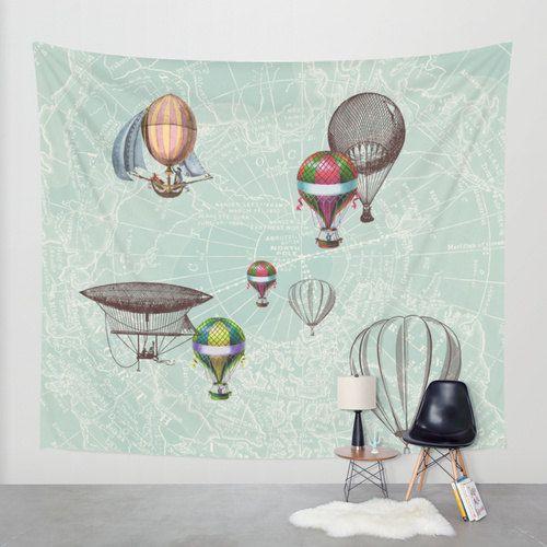 Où vous mènera votre voyage ? Si vous aimez les ballons à Air chaud, ce quil la conception pour vous ! La Sarcelle dhiver carte dans le fond est vintage