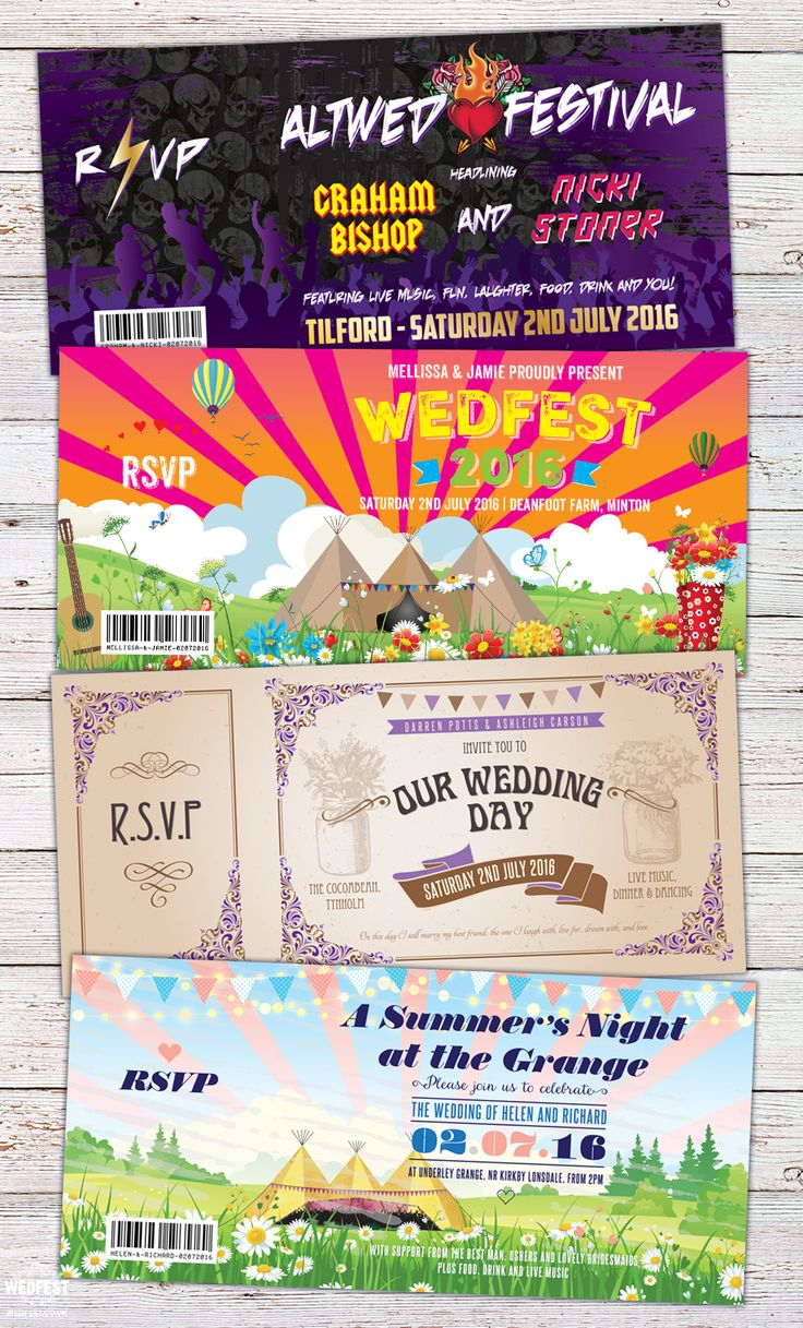 Festival, Boho, Wedfest and Rock N Roll Wedding Invites - Just a super quick post today to showcase the variance in just a few of the wedding invitations we designed for weddings today. Now that summer has started weddings are taking place every day and today is one of the most popular. Here at Wedfest