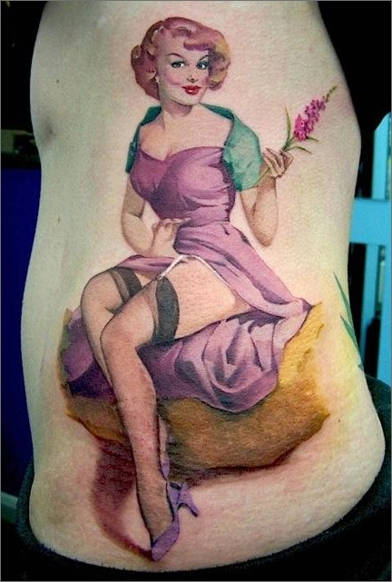 Watercolor pin-up tattoo by David Corden #tattoo