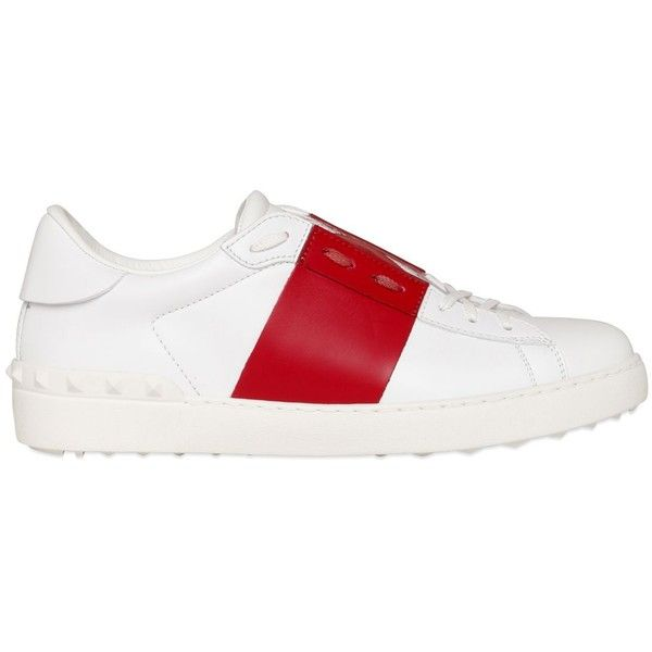 Valentino Men Open Color Block Leather Sneakers (69840 RSD) ❤ liked on Polyvore featuring men's fashion, men's shoes, men's sneakers, mens leather shoes, valentino mens sneakers, mens shoes, valentino mens shoes and mens two tone shoes