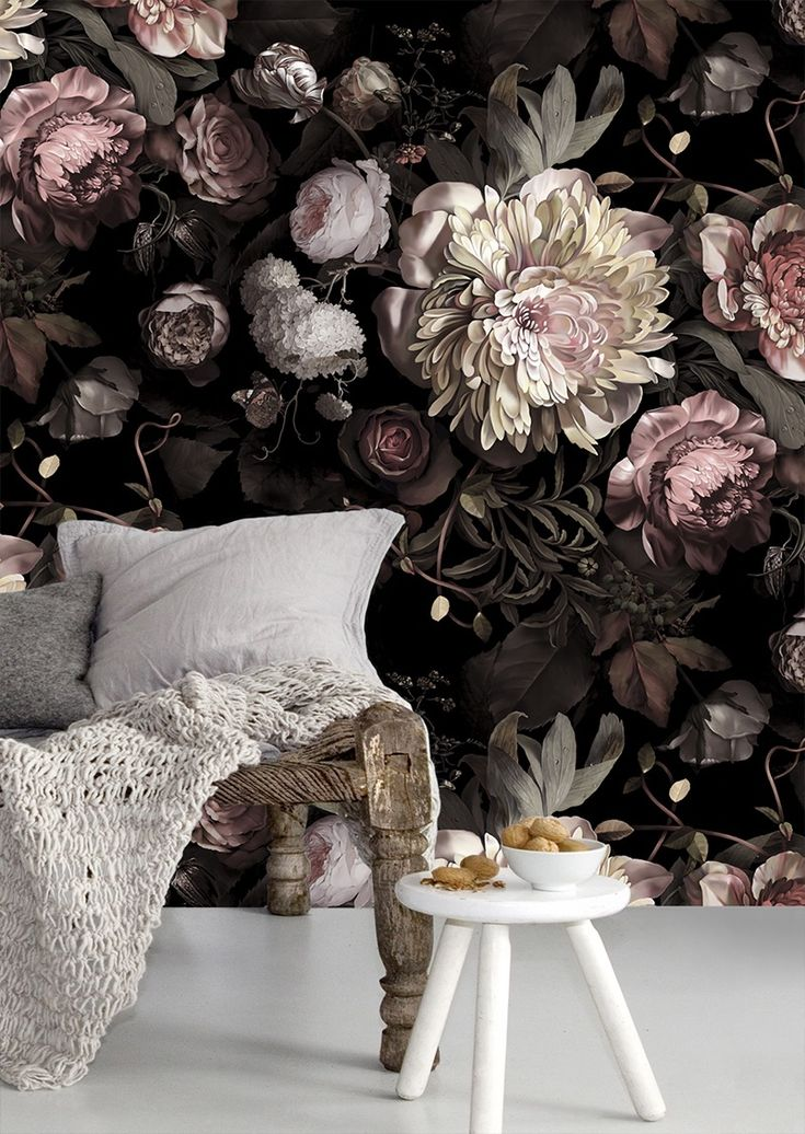 Large scalE floral print.  Ellie Cashman Design Dark Floral II Black Desaturated Wallpaper