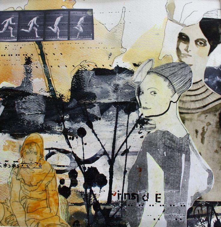 Mennesker, maleri, collage, Abstrakt, art, udstillinger, kursus, akrylmaleri, Rie Brødsgård, Kolding, galleri.