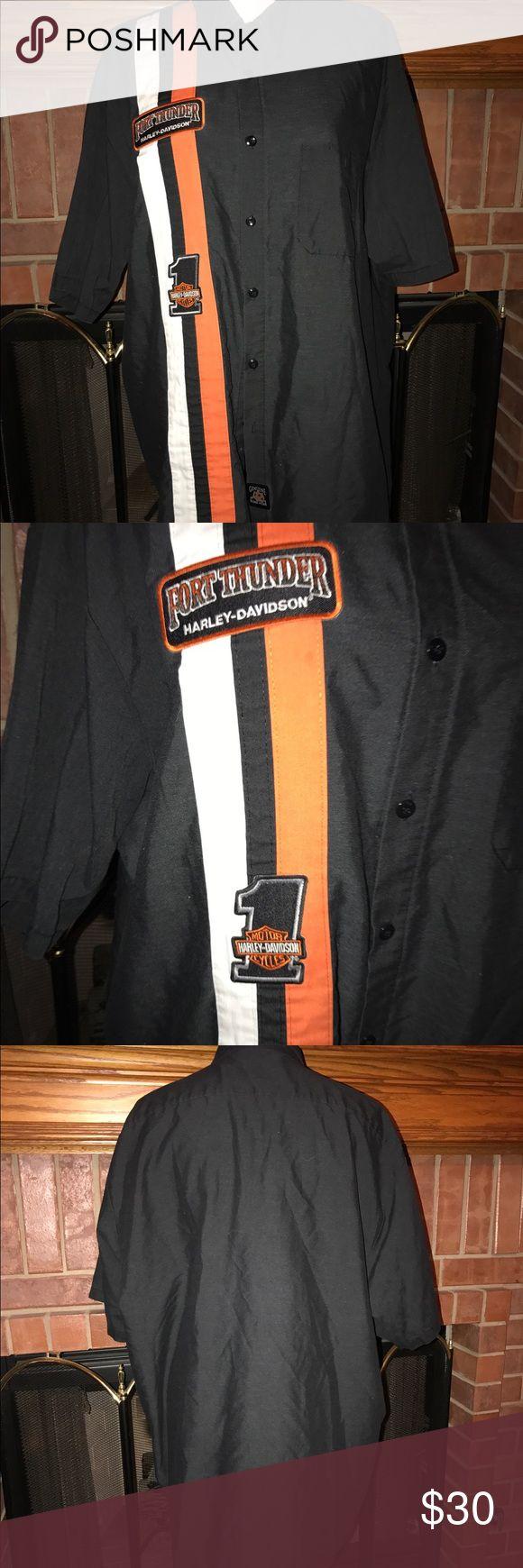 Men's Harley Davidson shop shirt Fort Thunder Harley Davidson shop shirt. 65% polyester, 35% cotton. Size 2XL. NO TRADES! #94 Harley-Davidson Shirts Tees - Short Sleeve