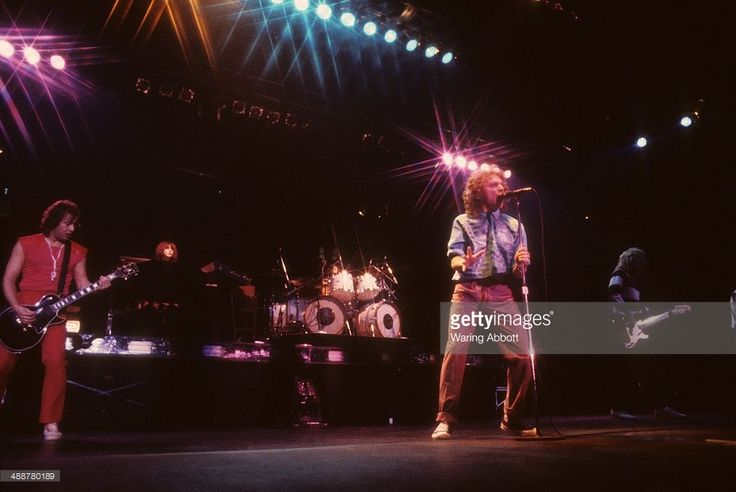 British guitarist Mick Jones, American keyboardist Al Greenwood, American vocalist Lou Gramm and British bass guitarist Rick Wills of the British-American rock group Foreigner performing live at New Haven Veteran's Coliseum on January 1, 1979 in New Haven, Connecticut.