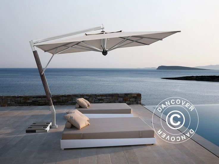CANTILEVER PARASOL GIOTTO BRACCIO, 3.5X3.5 M, ECRU Top of the line cantilever parasol in an exquisite handmade Italian quality. The beautiful and exclusive parasol has a very elegant and modern design. Frame in coated aluminium that will maintain the beautiful finish for many years without any maintenance.