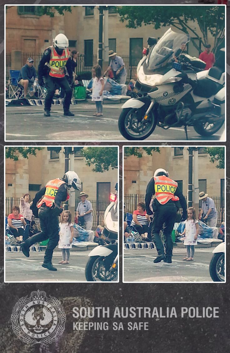 Thanks to Brianna Zimmerman, who gave us permission to publish these photographs that she took before the Credit Union Christmas Pageant got underway on Saturday, of a Senior Constable from the Traffic Enforcement Unit playing hopscotch with a little girl from the crowd. #Police #Adelaide #Hopscotch #Copscotch #Christmas #Pageant