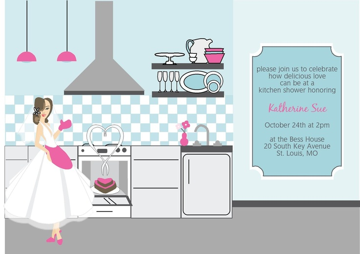 Exclusive FACES COLLECTION Vintage Inspired Pink and Blue Cooking in the Kitchen Bridal Shower Invitation. $40.00, via Etsy.