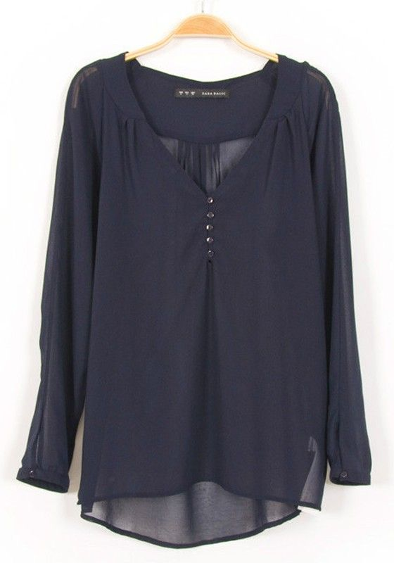 Dark Blue Plain Buttons Long Sleeve Chiffon Blouse