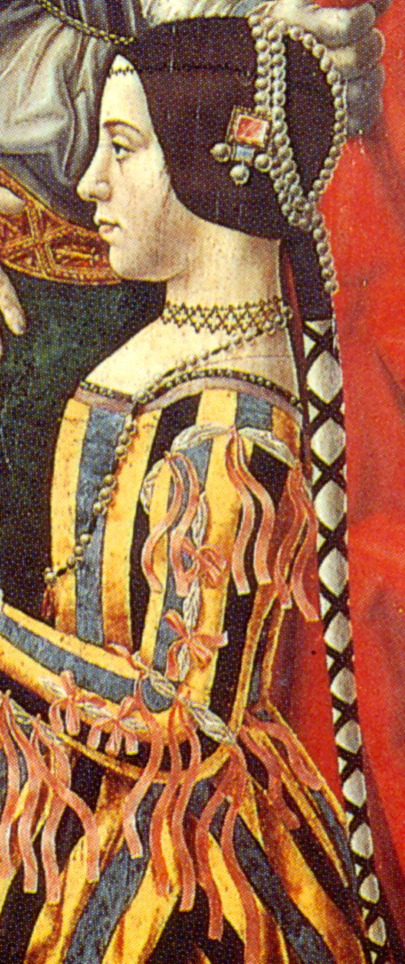 Hair covering and stripes -   Beatrice d'Este's Dress as Depicted in the Pala Sforzesca, Milan  (c. 1496-97)