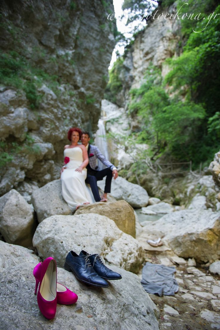 Sweet couple's wedding photos #Waterfalls #Lefkas #Ionian #Greece #wedding #weddingdestination Eikona Lefkada Stavraka Kritikos