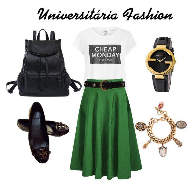 "Apostolic ""Look Universitária Fashion"" by gesiane-saves on Polyvore featuring moda, Cheap Monday, ESCADA, Alexander McQueen, Tory Burch, Gucci, women's clothing, women's fashion, women e female"