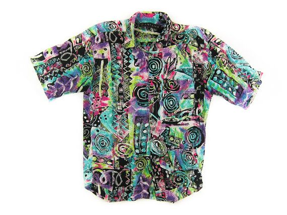 FRESH PRINCE of Bel Air Style Short Sleeve Button Up Collared Shirt - Abstract wild print 80s/90s Unisex Shirt