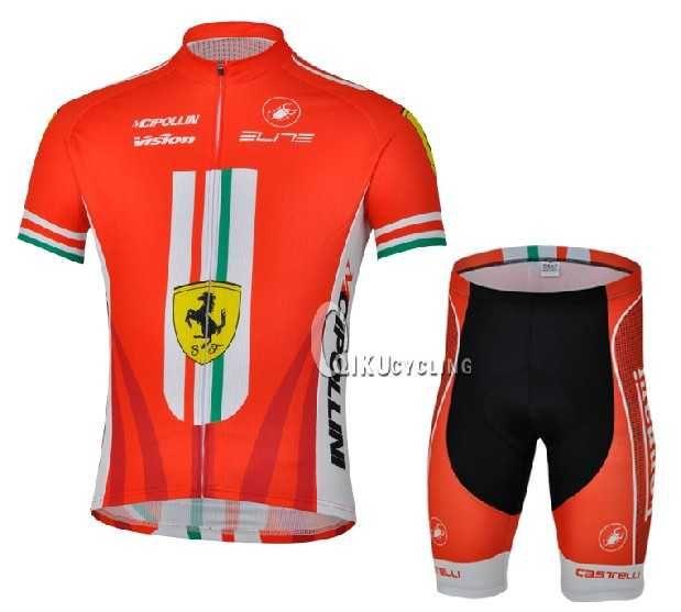 Ferrari Teams castelli Cipollini Radbekleidung Radtrikot Kurzarm + Fahrradhosen