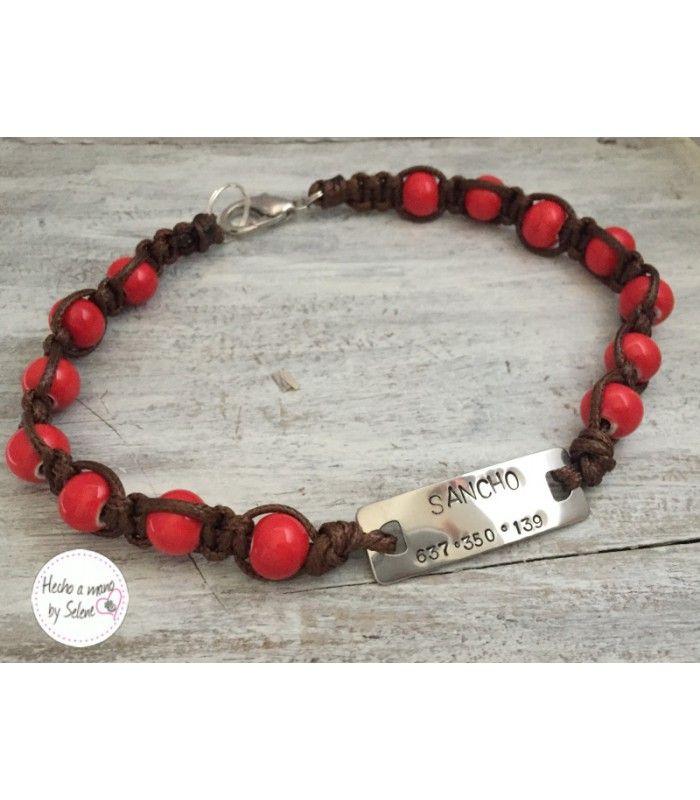 Collar para perro, collar galgo, realizado a mano con piedras en cerámica y placa identificativa en acero inoxidable, galgolovers, collar galgos, joyas galgos