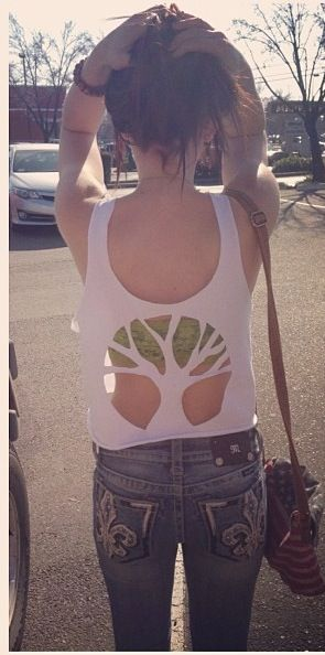 DIY tree cutout for crop tops. This is way more up my ally than the similar skull one!