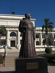 Statue of Father Junípero Serra; founder of Mission San Buenaventura in 1782.