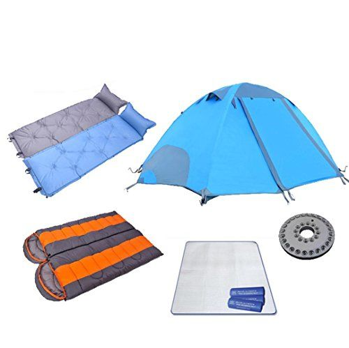 XIAOHM Camping tent double double aluminum Rod wind rain sleeping bags cushioned outdoor products  4 -- You can find more details by visiting the image link.