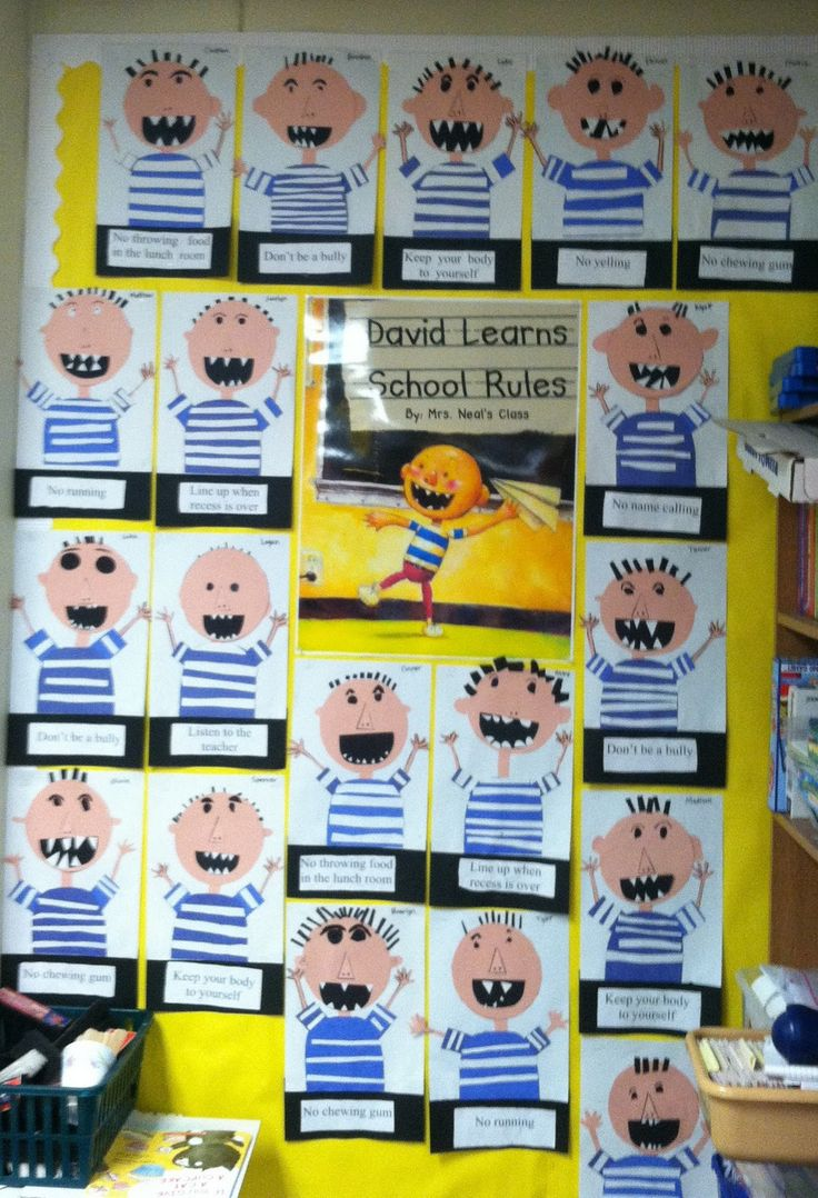 We read the book several times then the students chose one rule they thought was especially important to them and they typed their rule during Computer Lab time. Then each student created a picture of David and they turned out AMAZING!