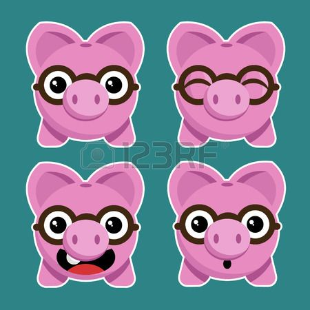Set of fun cartoon piggy banks with eyeglasses