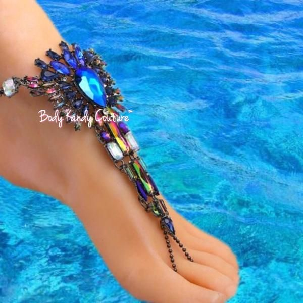 Salome Aurora Borealis BareFoot Sandals-Barefoot Sandals-Body Kandy Couture. Barefoot Bohemian Wedding Sandals. Boho Gypsy Beach Crystal Barefoot Sandals with Aurora Borealis Ceystals.    Perfect for Destination Weddings and Beach Theme Jewelry  Adjustable Extender Chain With Lobster Clasp  Made Upon Order  Please Allow Up to Two Weeks Production Time