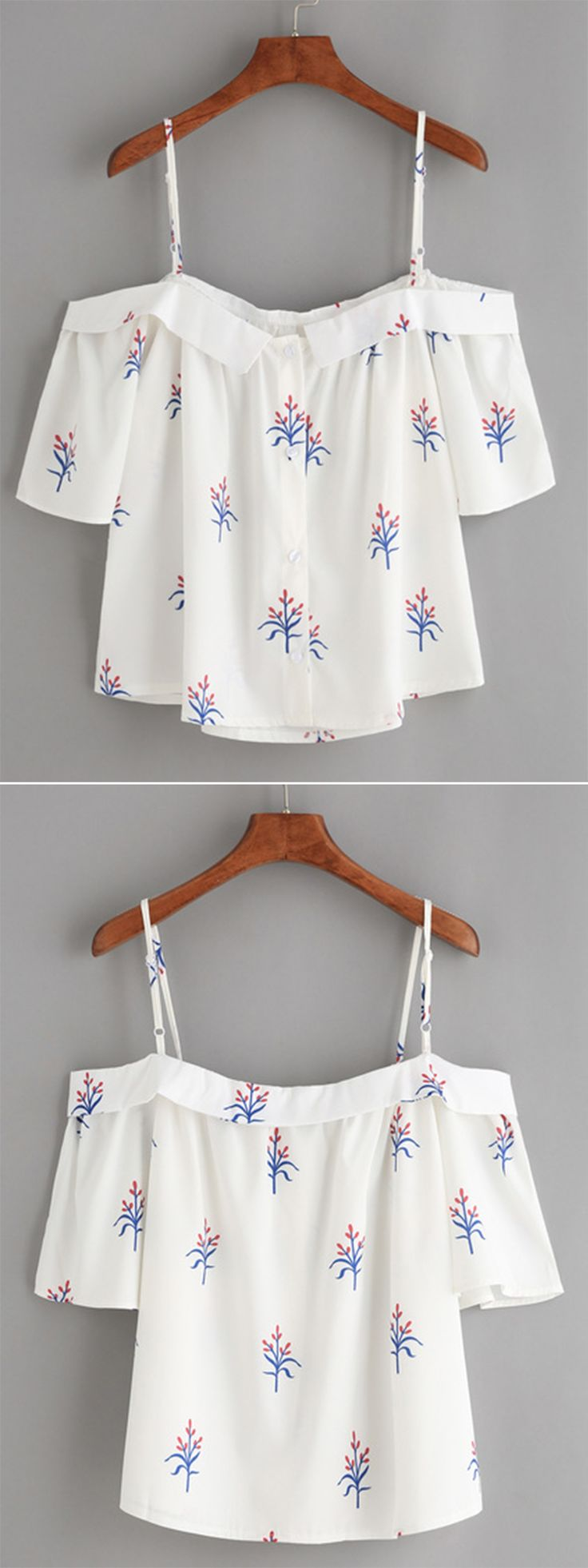 White Fold Over Cold Shoulder Flower Print Top                                                                                                                                                                                 Más