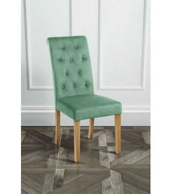 Genoa Jade Upholstered Scroll Back Dining Chair with Natural Legs