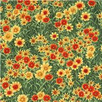 Tela verde hierba linda flor amarilla naranja Wild Texas