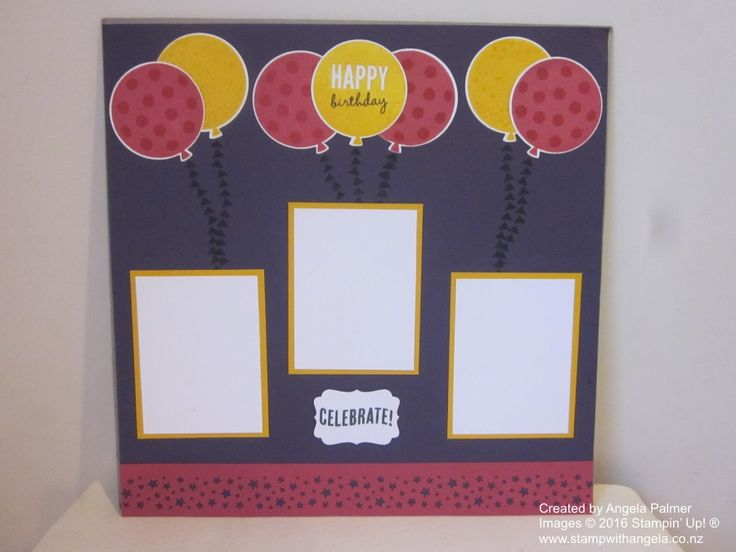 A birthday scrapbook page featuring the Celebrate Today stamp set.  The colours used are Elegant Eggplant, Rose Red and Crushed Curry.