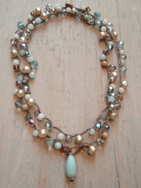 Amazonite, agate, jasper, crystal, czech glass, and some of the prettiest unique vintage glass pearls