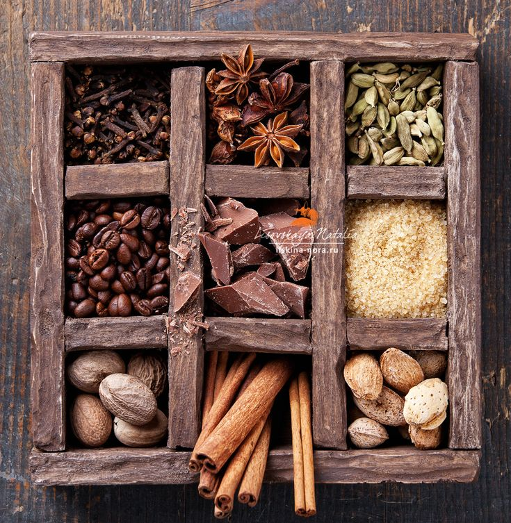 кофе со специями by Natalia Lisovskaya Assortment of spices and coffee beans in wooden box.