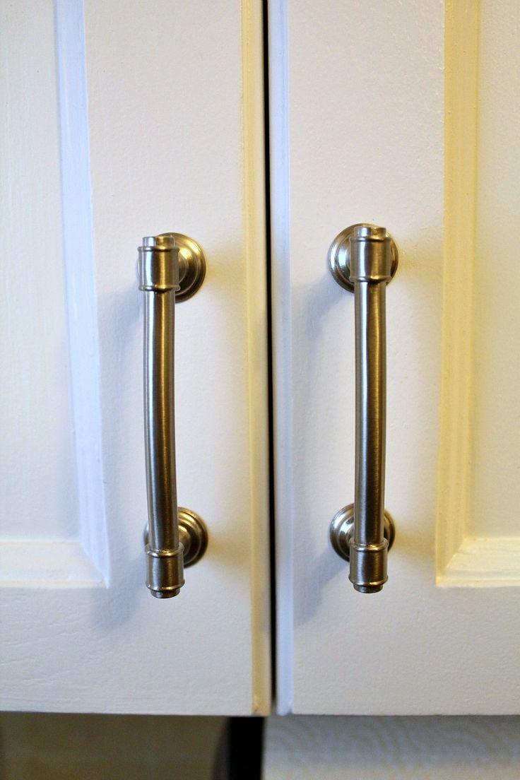 nickel plated nautical cabinet handle on white door
