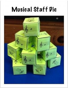 Composing with Musical Staff Dice / Downloadable Pattern.... GREAT IDEA! Student with partner needs two dice (one with treble clef notes, one with building brick rhtyhms) to create original melody to play on Orff instruments; Teacher can notate for whole class using NoteFlight.com