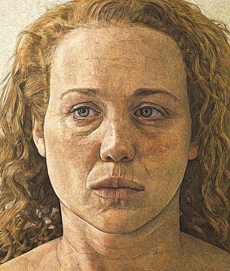"""Georgia"" - Antony Williams, egg tempera, 2009 {figurative art female head woman face portrait cropped painting} antony-williams.com"