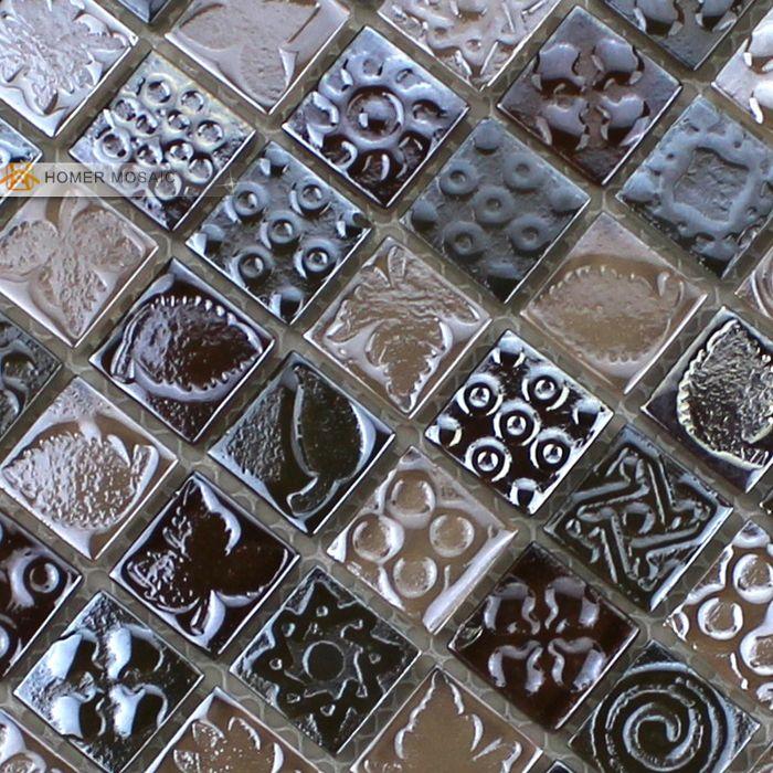 Экспресс-доставка бесплатно! 12x12 коричневый кристалл стеклянная плитка кухня плитка настенная плитка мозаика стеклянная мозаика