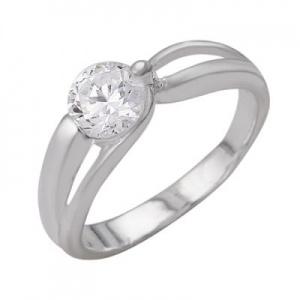 Кольцо 379 Основа - мельхиор, серебрение Вставка - фианит