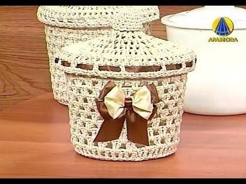 Sabor de Vida Artesanatos | Cesto em Crochê Endurecido - 18 de Setembro de 2012 - YouTube