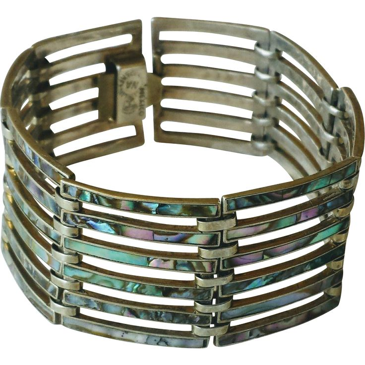 Vintage 1950s Mexico Sterling Silver and Abalone Wide Panel Bracelet at WhimsicalVintage