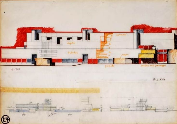 Carlo Aymonino, Disegni per il Gallaratese, 1968, Matita e pennarelli colorati su carta lucida, 50x70 cm.