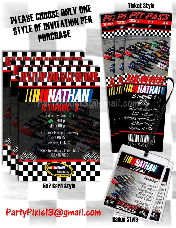 Nascar Birthday Invitations  5X7 Post Card by PartyPixiePrintables, $10.00