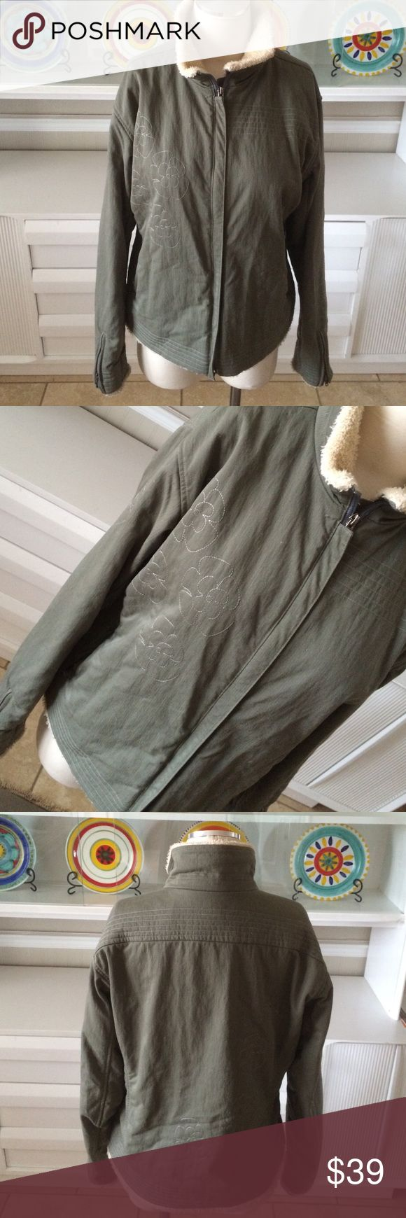 "Mountain Hard Wear olive khaki jacket Good used condition! Embroidered.  Measures 24"" long and 21"" armpit to armpit shearling trim. Mountain Hard Wear Jackets & Coats"