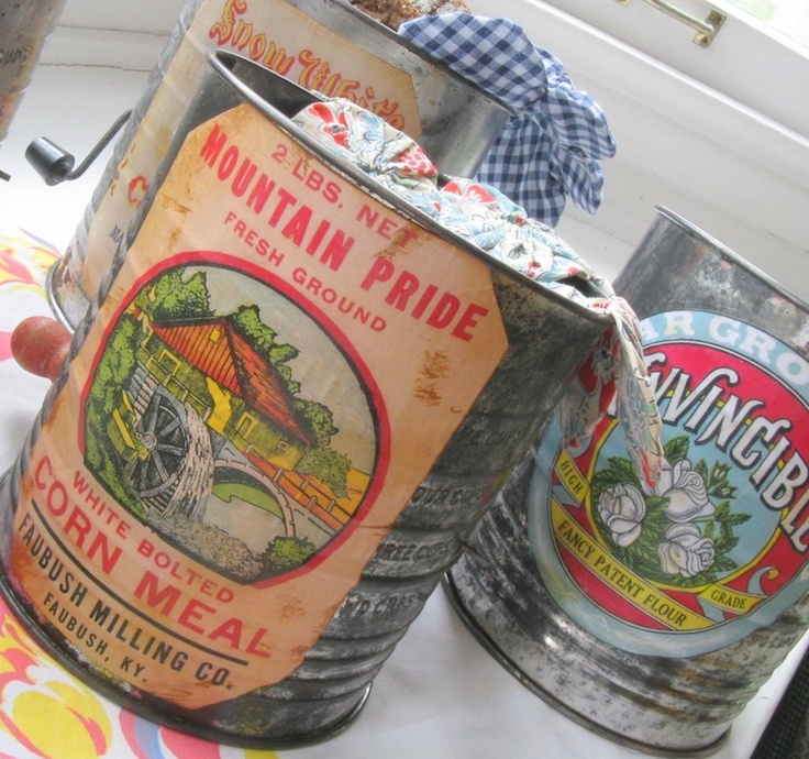 Vintage food labels - flour sifter upcycle. ~ Mod Podge Rocks!