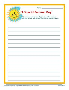 Summer writing activities 4th grade